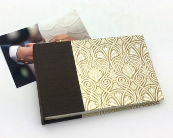 Mini Photo Album, Gold Swirl, holds 36 4x6 photos, In Stock