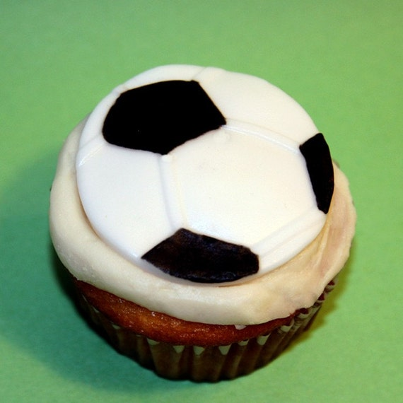 Fondant Cupcake Topper Soccer Ball Etsy Impressive Soccer Ball Decorations Cupcakes