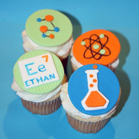 Pleasing Fondant Cupcake Toppers Science Themed Birthday Party Etsy Funny Birthday Cards Online Elaedamsfinfo
