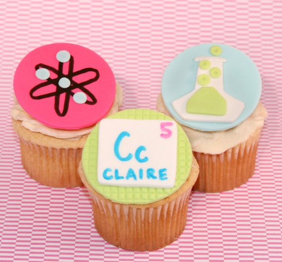Admirable Fondant Cupcake Toppers Science Themed Birthday Party Etsy Funny Birthday Cards Online Elaedamsfinfo