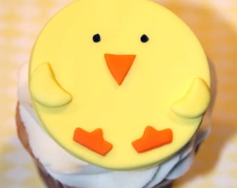 Fondant Cupcake Toppers Easter Spring Chick