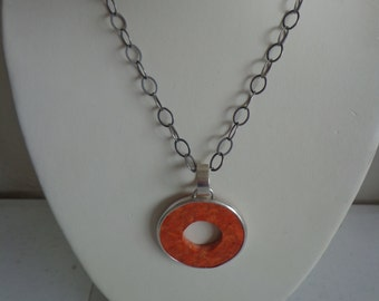 """SILPADA Retired Sponge Coral and Sterling Silver Pendant on 17"""" Oxidized Wide Link Sterling Chain, Catalog N1564"""