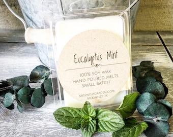 Eucalyptus Mint Soy Wax Melts, Hand poured soy wax melts, handmade soy wax melts, handmade wax tarts, birthday, gift idea