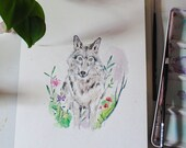Original Wolf Botanical Watercolor Painting - Room Decor
