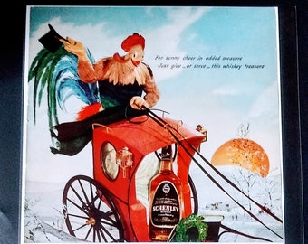 Vintage Print Ad 1939 Schenley/'s Black /& Red Label Whiskey P.Hal Sims~Missed Grand Slam In Schenley Exam