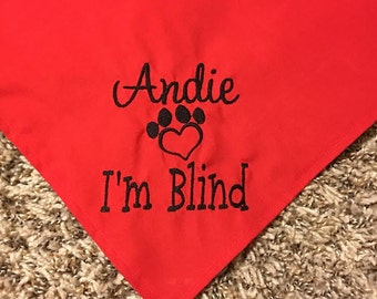 Personalized I'm Blind Dog Bandana With Heart Shaped Paw Print