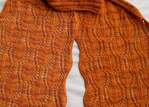 Knit Scarf Pattern Bordered Leaf Lace Knitted Scarf Pattern Etsy