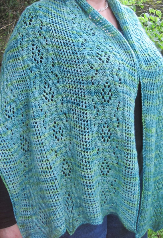 Knit Shawl Pattern Bellinna Mesh And Cable Lace Shawl Etsy