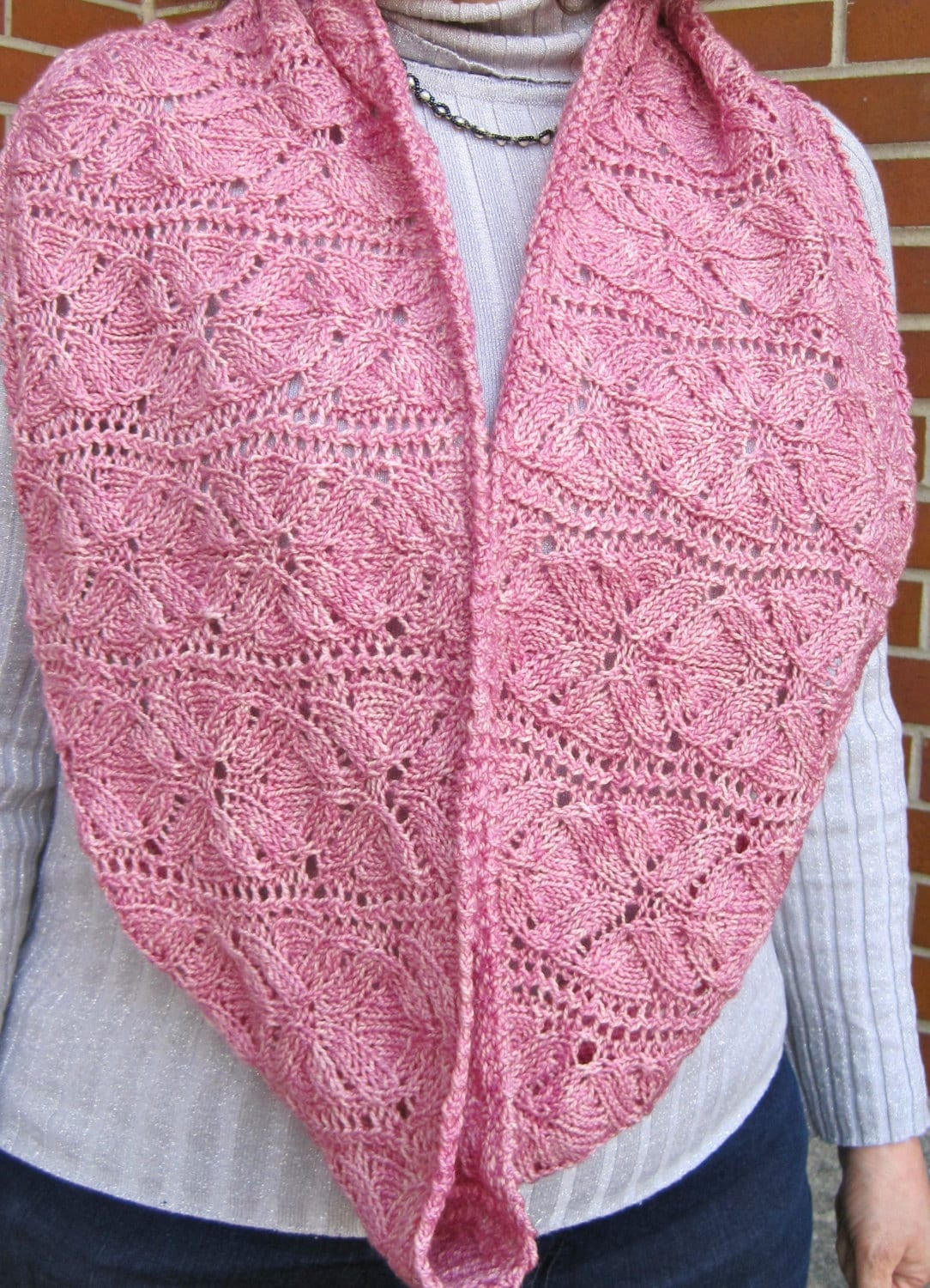 Knit Cowl Pattern Vinco Lace Flower Cowl Infinity Scarf Etsy