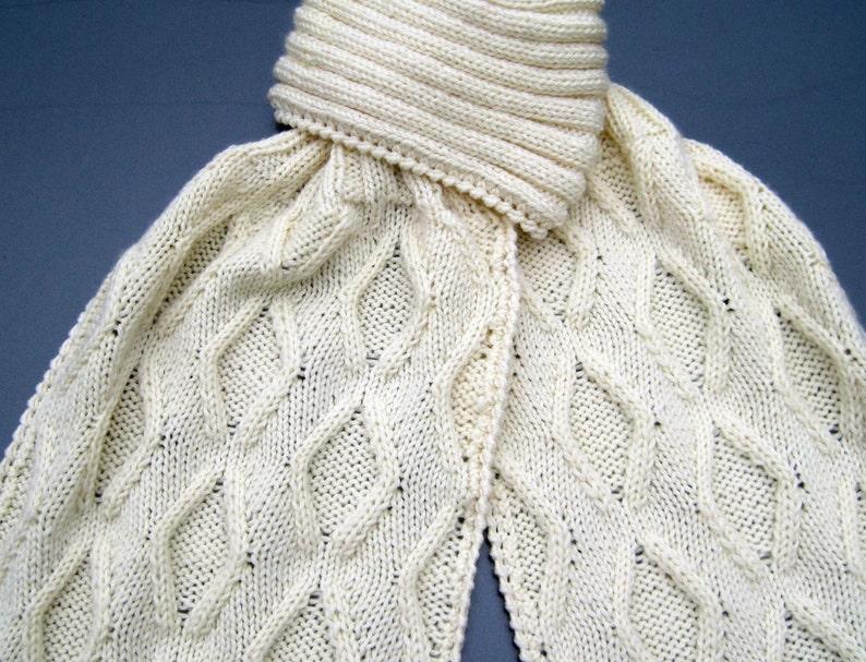 Knit Scarf Pattern Diamond Cabled Turtleneck Scarf Knitting Etsy