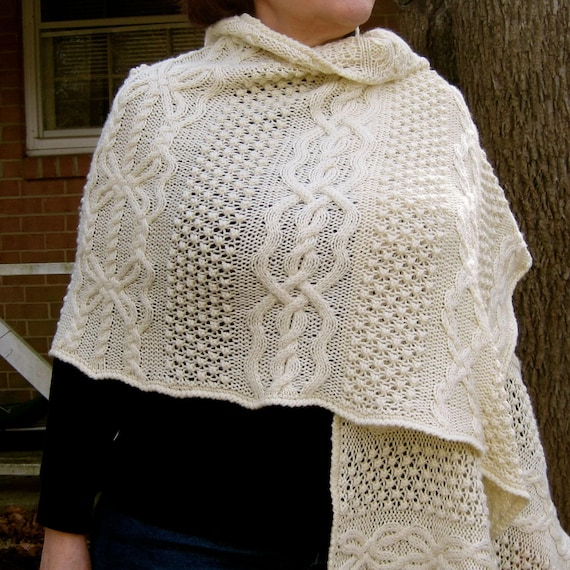 Knit Stole Pattern Blarney Warm Fisherman Knit Stole Etsy
