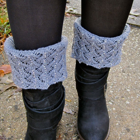 Knit Boot Cuff Pattern Beaded And Lacy Boot Cuff Knitting Etsy