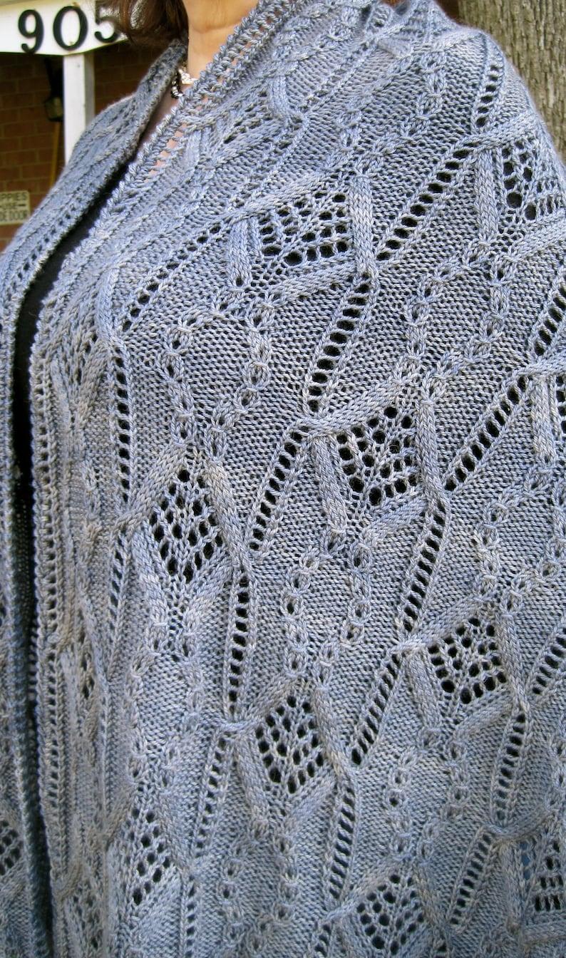 Knit Shawl Pattern Mito Cable Lace Shawl Knitting Pattern Etsy