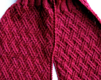 Knit Scarf Pattern:  Twisted Criss Cross Turtleneck Scarf Knitting Pattern