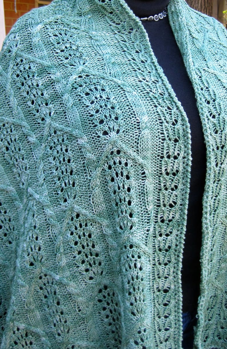 Knit Shawl Pattern Nagaki Cable Lace Shawl Knitting Pattern Etsy