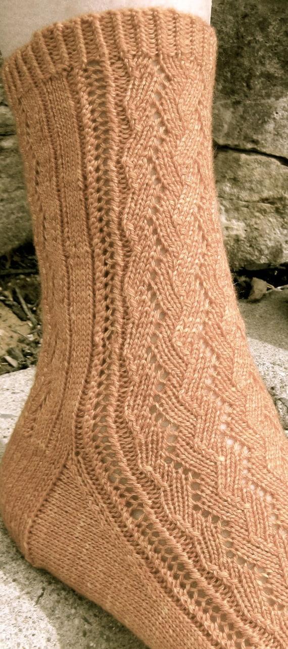 Knit Sock Pattern Agathons Easy Lace Sock Knitting Etsy