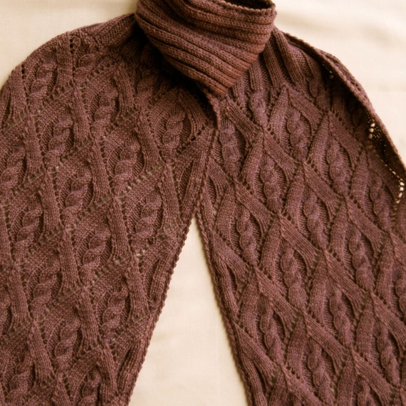 Knit Scarf Pattern My Favorite Cable Lace Turtleneck Scarf Etsy