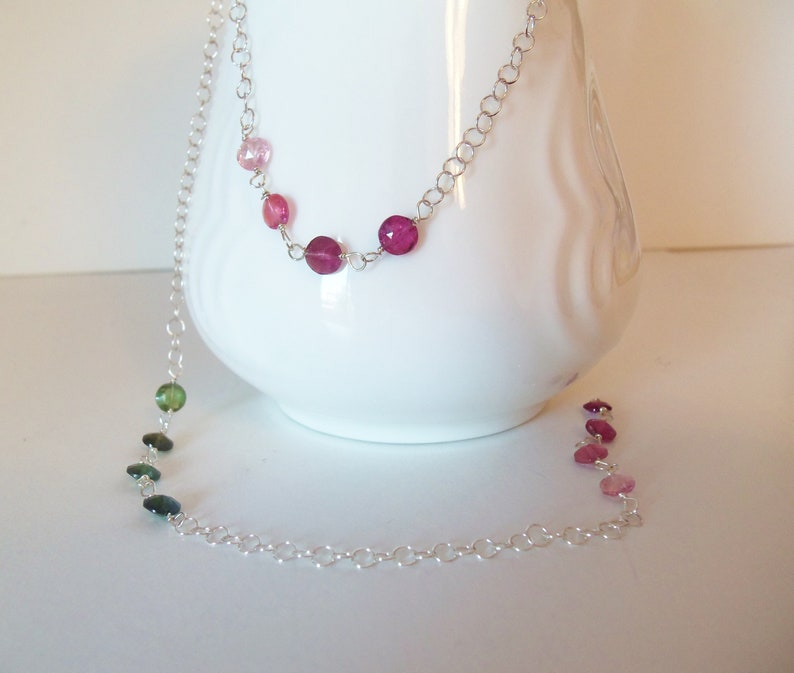 Long Rainbow Tourmaline Gemstone Handmade Necklace Wire Wrapped with Sterling Silver