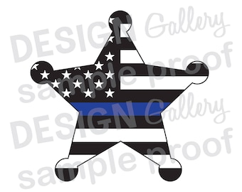 deputy sheriff badge american flag thin blue line jpg png image svg dxf cut printable digital iron on