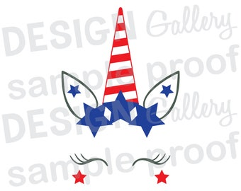 Unicorn Face - JPG, png & SVG, DXF cut file, Printable Digital, Patriotic Independence Day Fourth 4th of July Stars Red White and Blue