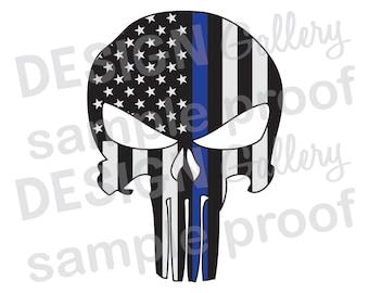 American Flag Punisher- JPG image & SVG DXF cut - Thin Blue Line Mask Skull Helmet Law Enforcement Police Sheriff Printable Digital Iron On