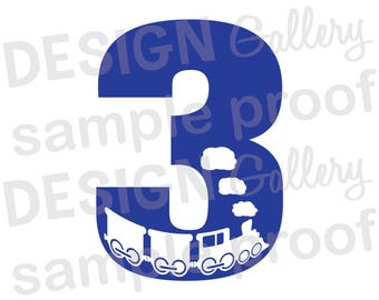3 - Train - JPG, png & SVG, DXF cut file, Printable Digital, choo choo - Instant Download