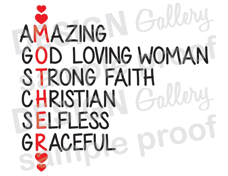 MOTHER Amazing God Loving Strong Faith Christian Selfless Graceful - SVG  dxf cut & JPG png image files - Digital Iron On - Mothers Day
