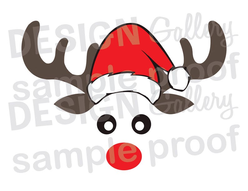 picture about Printable Reindeer Face titled Reindeer Encounter Santa Hat - SVG, DXF slash JPG, png graphic information - Xmas Santa Rudolph Pink Nose Antlers - Printable Electronic Iron Upon