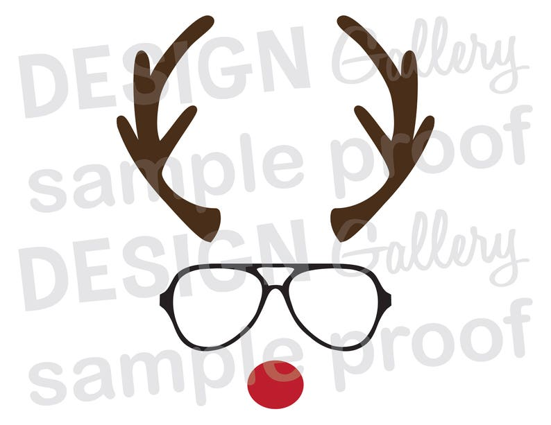 image about Printable Reindeer Face called Reindeer Confront Gles - SVG, DXF minimize JPG, png impression data files - Xmas Santa Rudolph Crimson Nose Antlers - Printable Electronic Iron Upon