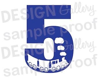 5 - Train - JPG, png & SVG, DXF cut file, Printable Digital, choo choo - Instant Download