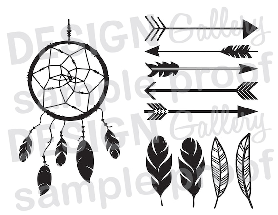 Arrows Dream Catcher Feathers Diy Instant Download Svg Etsy