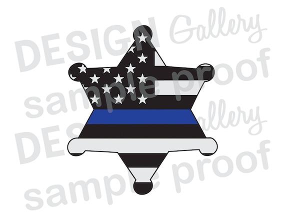 graphic regarding Printable Sheriff Badge called Deputy Sheriff Badge American Flag Slim Blue Line - JPG, png graphic SVG, dxf lower - Printable Electronic Iron Upon