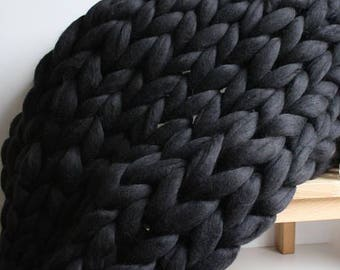 Any Size Chunky Knit Blanket - 100% Luxury Merino Wool