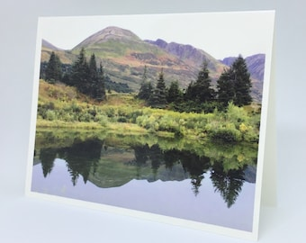 Mountain Reflection in Lake - Glossy Greeting Card