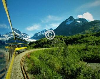 Alaska Mountan Train - 5x7 PHOTO PRINT - other sizes available