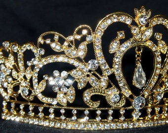 sale...dancing diamond heart large gold CRYSTAL RHINESTONE crown junior  bridesmaid or bride wedding crown tiara e6d7d0e57536