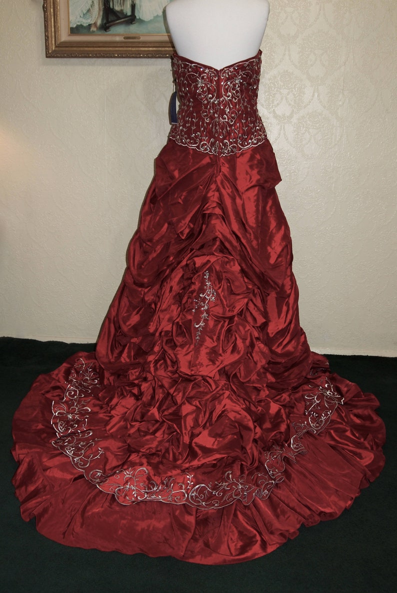 sale 75.00 off Plus Size 22-24 GARNET RED GOTHIC wedding gown Ball Gown  Steampunk Wedding Gown Red Victorian Gown Christmas Wedding Gown