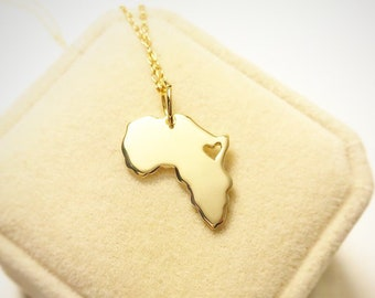 18kt Gold Africa Necklace GOLD PLATED Personalized Africa Map Pendant, Africa Ethiopia Pendant Adoption Pendant Africa, Custom Jewelry