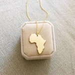 18kt Gold Africa Necklace Big size GOLD PLATED Personalized Africa Map Pendant, Africa Pendant Adoption Pendant Africa, Custom Jewelry