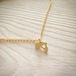 Gold Africa Necklace, Golden Heart Africa, Gold Necklace Map, Ethiopia Pendant, Adoption Necklace, Custom Jewelry, Personalized Necklace