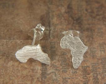 Africa Earrings, Silver Map Earrings, Ethiopia Studs, Silver Africa Map, Silver Earrings Ethiopia, Custom Jewelry, Personalized Earrings