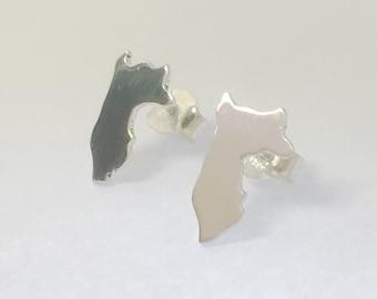 Peru Earrings, Silver Map Earrings, peru Studs, Silver Peru Map, Silver Earrings Lima, Custom Jewelry, Personalized Earrings