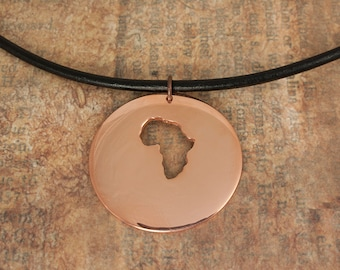 Africa Pendant, Copper Africa Map, Personalized Pendant, Africa Map Necklace, Map Copper Necklace, Custom Jewelry, Personalized Necklace