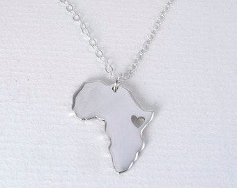 Africa Necklace, Africa Map Personalized , Map Pendant, Ethiopia Necklace, Silver Africa Map, Custom Jewelry, Personalized Necklace