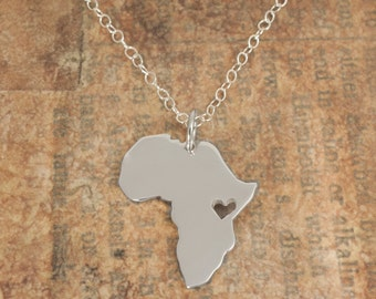 Africa Map Necklace, Silver Africa Pendant, Africa Necklace, Personalized Pendant, Africa Map Pendant Heart, Custom State Map, Custom Jewel