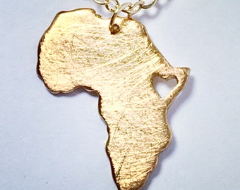 Gold Africa Necklace, Africa Map Necklace, Golden Heart Africa, Ethiopia Pendant, Adoption Necklace, Africa Pendant, Custom Jewelry