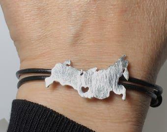 Russia Bracelet, Russia Band, Adoption Bracelet, Pulsera Rusia Irkutsk, Russia Pendant, Russia Necklace, Russia Bracelet, Custom Map