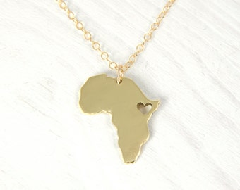 18kt Gold Africa Necklace Personalized Africa Map Pendant, Africa Ethiopia Pendant Adoption Pendant Africa, Custom Jewelry Free Gift