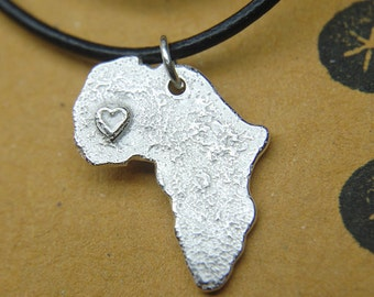 Africa Necklace, Africa Map Pendant, Africa Heart Necklace, Silver Africa Shape, Custom Jewelry, Personalized Necklace, Silver Necklace