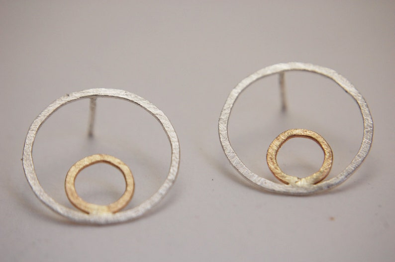 Gold Hoop Studs Earrings Circle Studs Sterling Silver 935 Double Circle Earrings in a kraft gift box with an Extra Free Gift.
